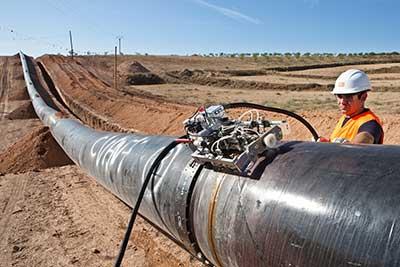 Trabajos ensayo en el Gasoducto Artère de L' Adour