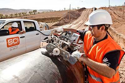 Trabajos ensayo en Gasoducto Artère de L' Adour