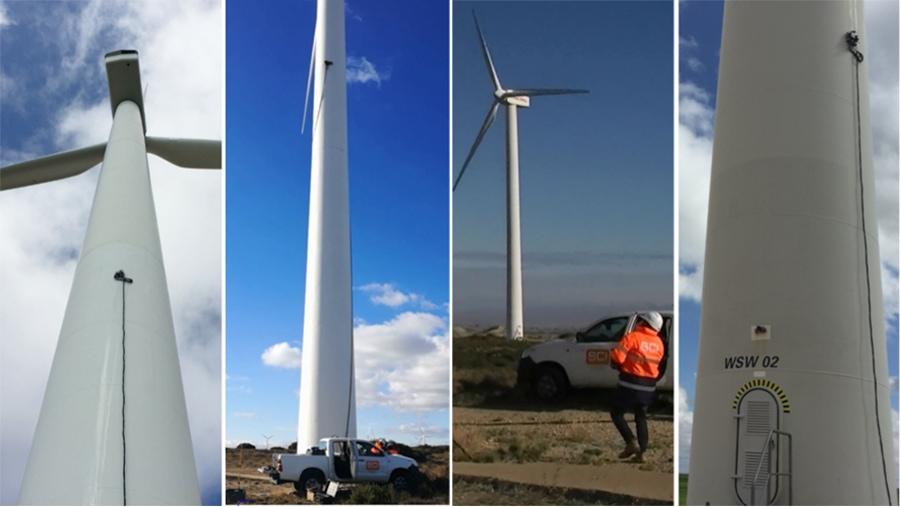 inspección de soldadura en torres eólicas